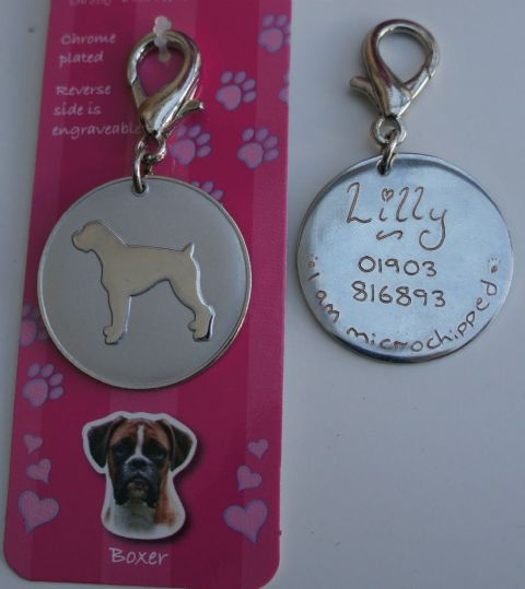 BOXER DOG ID TAG -  ENGRAVED FREE